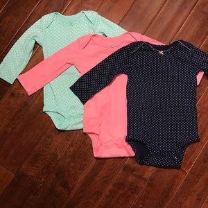 3 Carter's Simple Joys Girls Long Sleeve Onesies